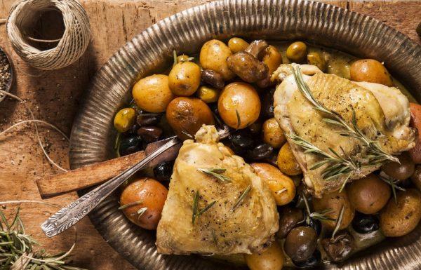 מתכון לתבשיל ירכיים במיקס זיתים ותפוח אדמה פריזיאן